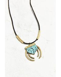 Urban Outfitters - Black Zia Stone Pendant Necklace - Lyst