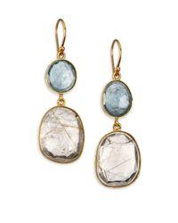 Lena Skadegard | Metallic Rutilated Quartz, Moss Aquamarine & 18k Yellow Gold Double-drop Earrings | Lyst