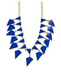 Kenneth Jay Lane | Blue Navy And Gold Enamel Geometric Bib Necklace | Lyst