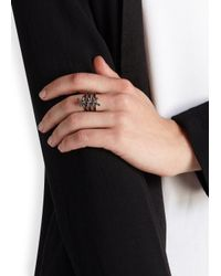 Fallon | Black Forget Me Knot Triple Ring | Lyst