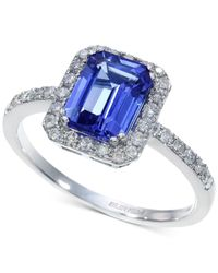 Effy Collection - Blue Tanzanite (1-1/3 Ct. T.w.) And Diamond (1/4 Ct. T.w.) Ring In 14k White Gold - Lyst