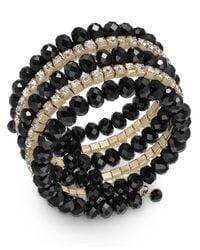 INC International Concepts | Metallic Gold-tone Jet Crystal Coil Bracelet | Lyst