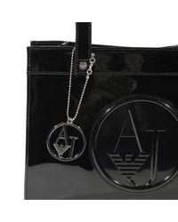 Armani Jeans - Black Handbag Patent Leather Shopping 1 Zip Small 29x22.5x8.5 Cm - Lyst