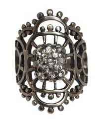 Laurent Gandini Black Silver and Diamond Valenciennec Ring