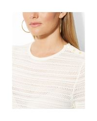 Ralph Lauren | Beige Pointelle-knit Sweater | Lyst