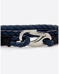 Seven London | Blue Plaited Leather Wrap Bracelet for Men | Lyst