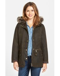 Barbour | Green 'Kelsall' Faux Fur & Faux Shearling Trim Waxed Cotton Parka | Lyst