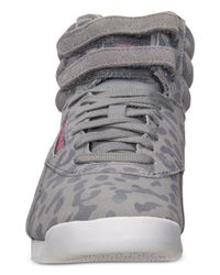 Reebok - Gray Women's Freestyle Hi Eden Casual Sneakers From Finish Line - Lyst