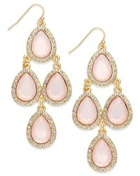 INC International Concepts | Gold-tone Pink Pavé Teardrop Chandelier Earrings | Lyst