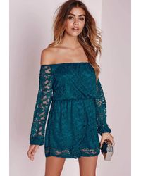 Missguided | Blue Lace Long Sleeve Bardot Romper Teal | Lyst