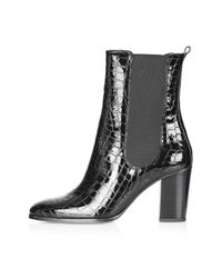 TOPSHOP - Black Molly Chelsea Boots - Lyst