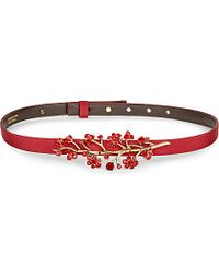 Oscar de la Renta - Metallic Floral-Embellished Leather And Grosgrain Belt - For Women - Lyst