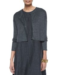 Eileen Fisher - Gray Linen Delave Crop Cardigan - Lyst