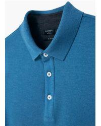 Mango - Blue Slim-fit Cotton-piqué Polo Shirt for Men - Lyst
