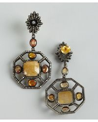 Amrapali | Orange And Yellow Sapphire Geometric Diamond Drop Earrings | Lyst