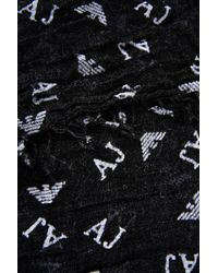 Armani Jeans | Gray Scarf In Logoed Fabric | Lyst