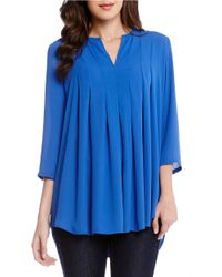 Karen Kane | Blue Pleated Blouse | Lyst