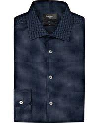 Paul Smith - Black Micro-print Soho-fit Cotton Shirt for Men - Lyst