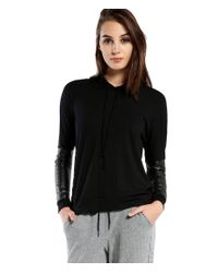 Michael Stars | Black Hooded Sweatshirt With Leather Contrast Arms | Lyst