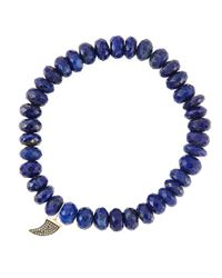 Sydney Evan | Blue 8Mm Faceted Lapis Beaded Bracelet With 14K Gold/Diamond Small Horn Charm (Made To Order) | Lyst