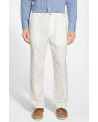 Tommy Bahama | Brown 'summerland Keys' Flat Front Linen Pants for Men | Lyst