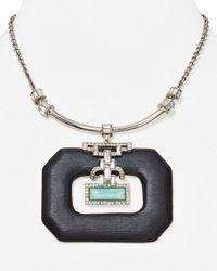 """Alexis Bittar - Black Lucite Brilliant Cut Baguette Pendant Necklace, 16"""" - Lyst"""