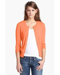 Halogen | Orange Three Quarter Sleeve Cardigan | Lyst