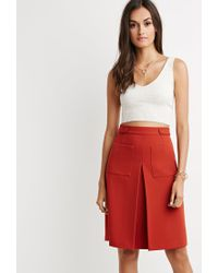 Forever 21 | Brown Inverted Front-pleat A-line Skirt You've Been Added To The Waitlist | Lyst