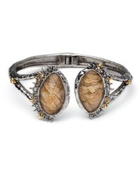 Alexis Bittar - Metallic Crystal Studded Spur Trim Hinge Bracelet With Custom Jasper Doublets - Lyst