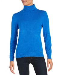 Calvin Klein | Blue Knit Turtleneck Sweater | Lyst