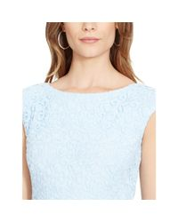 Ralph Lauren - Blue Lace Cap-sleeved Dress - Lyst