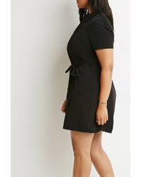 Forever 21 - Black Plus Size Self-tie Wrap Collared Dress - Lyst
