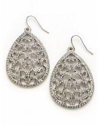 ABS By Allen Schwartz | Metallic Crystal Encrusted Filigree Teardrop Earrings | Lyst