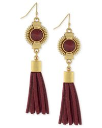 Vince Camuto | Brown Gold-tone Linear Tassel Earrings | Lyst