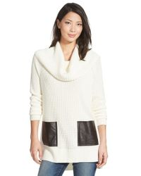 MICHAEL Michael Kors | Natural Faux Leather Pocket Cowl Neck Sweater | Lyst