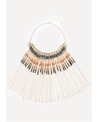 Bebe | Metallic Bead & Fringe Necklace | Lyst