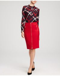 Ann Taylor - Red Refined Zip Pencil Skirt - Lyst