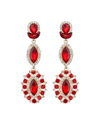 Mikey | Red Triple Eclipse Stone Long Drop Earring | Lyst
