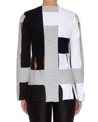 Edun - White Colour-block Lightweight Wool Knit Sweater - Lyst