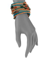 Cara | Multicolor Beaded Coil Bracelet | Lyst