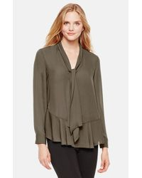 Vince Camuto | Green Ruffled Crepe Blouse | Lyst