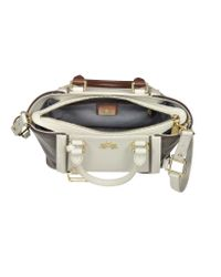 La Martina - Alfonsina Off White And Brown Leather Medium Handbag - Lyst