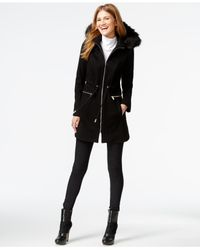 Laundry by Shelli Segal | Black Faux-fur-hood Zip-front Anorak | Lyst