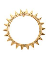 Alexander McQueen | Metallic Spiked Yellow Gold Hinge Bracelet | Lyst