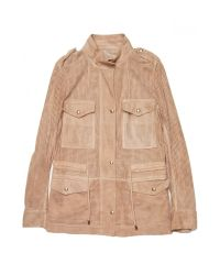 Yves Salomon | Natural Perforated Suede Jacket | Lyst