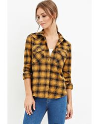 Forever 21 - Yellow Tartan Plaid Flannel Shirt You've Been Added To The Waitlist - Lyst