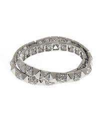 Noir Jewelry | Metallic Wrap Around Part Pave Bracelet | Lyst