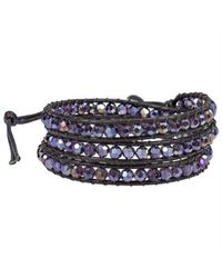 Aeravida | Purple Muse Crystal Tribal Wrap Leather Bracelet | Lyst