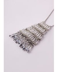 Missguided | Metallic Tiered Longline Necklace Silver | Lyst