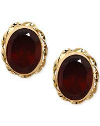 Macy's | Metallic Garnet Stud Earrings (2 Ct. T.w.) In 14k Gold | Lyst